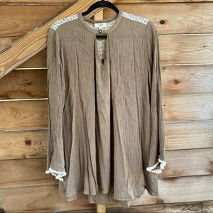 Hayden Los Angeles Brown Tunic w/ Lace Details L